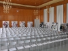 Die Ausstellung zeigte einen Überblick über die bisherigen Kollektionen von c.neeon in der frisch sanierten Aula der Kunsthochschule Weißensee, ein Entwurf des Architekten Selman Selmanagić, ausgeführt von den Deutschen Werkstätten Hellerau.