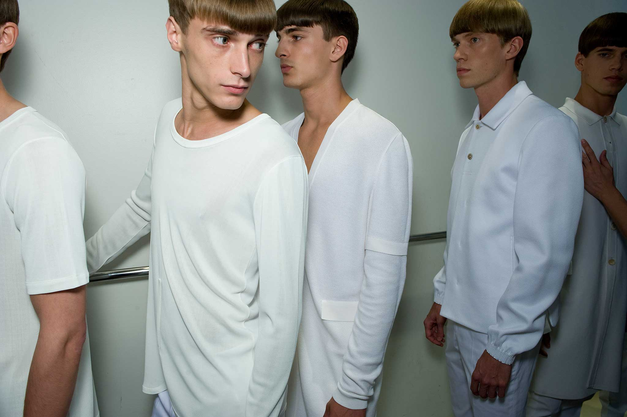 Backstage whrend der Prsentation der Jil Sander Mnner Kollektion Frhjahr/Sommer 2010 von Raf Simons.