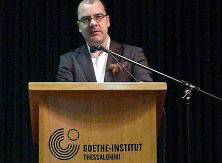 """Hauptredner der Fachtagung: """"Die Kraft des Kreativen – Kulturindustrie und Kreativwirtschaft in Griechenland und auf dem Balkan"""", Goethe-Institut Thessaloniki, am 10. Dezember 2010."""
