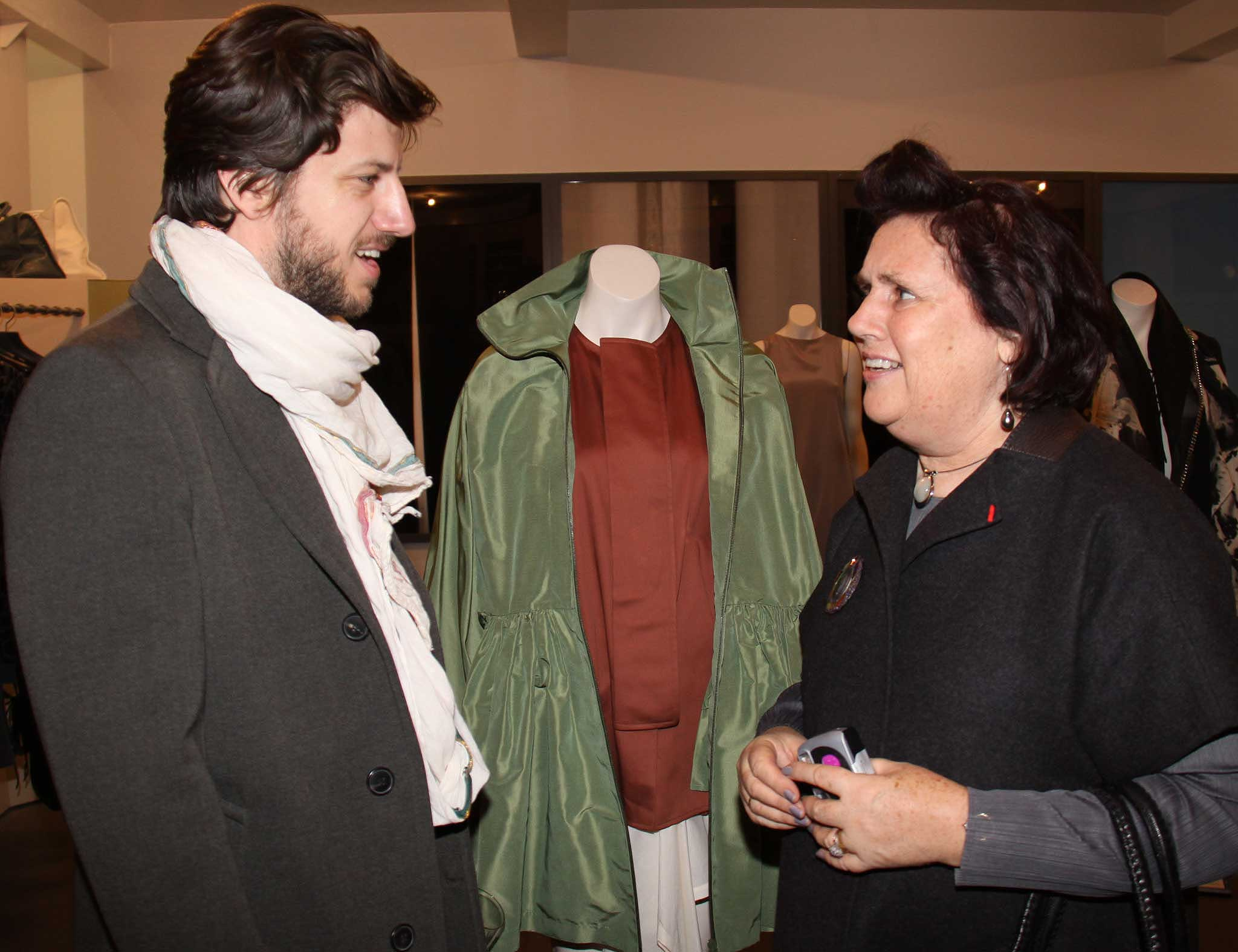 Suzy Menkes (right) meet Designer Michael Sontag in Berlin.